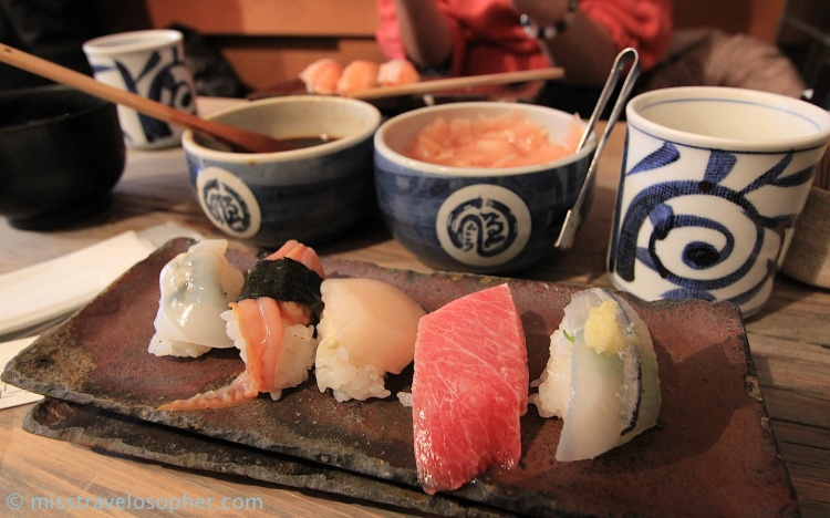 2nd serving of 'omakase': (from left) ika (squid), 'i don't know what i'm eating', hotate (scallop), toro (fatty bluefin tuna belly), sayori (halfbeak)