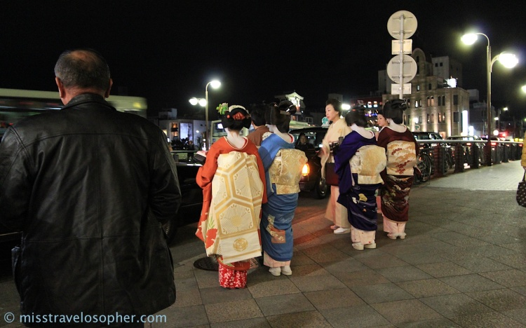 Maiko (in red kimono) and Geishas spotted at Pontocho (Shijo-dori end) Gion, Kyoto