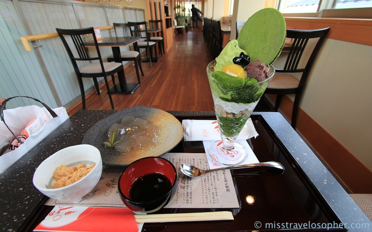 Tea time: Warabi mochi with a side bowl of kinako for dipping (soy bean flour), and a beautiful matcha parfait