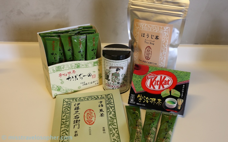 My Uji matcha buys: (clockwise from left) matcha cappuccino, matcha chocolate, hojicha tea bags, matcha kit-kat, sencha green tea leaves