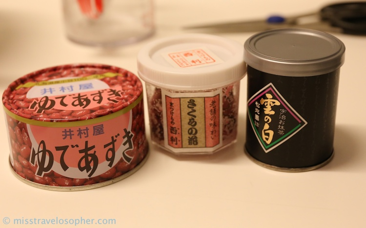From left: Azuki beans (sweetened red beans) used as a filling, pickled sakura flowers, matcha green tea powder from Uji