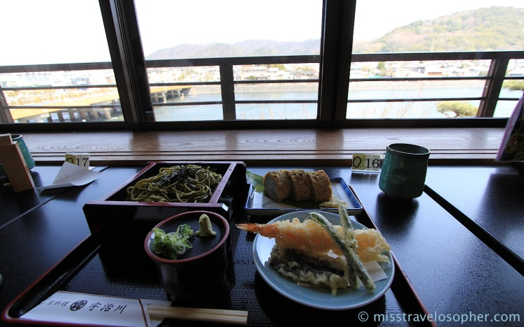 Lunch with a good view: Green tea soba noodles, tempura and inari maki
