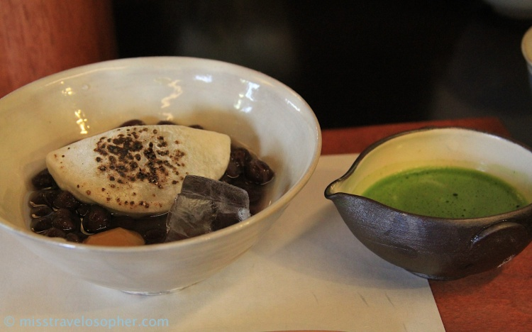 More matcha sweets with azuki beans and toasted mochi