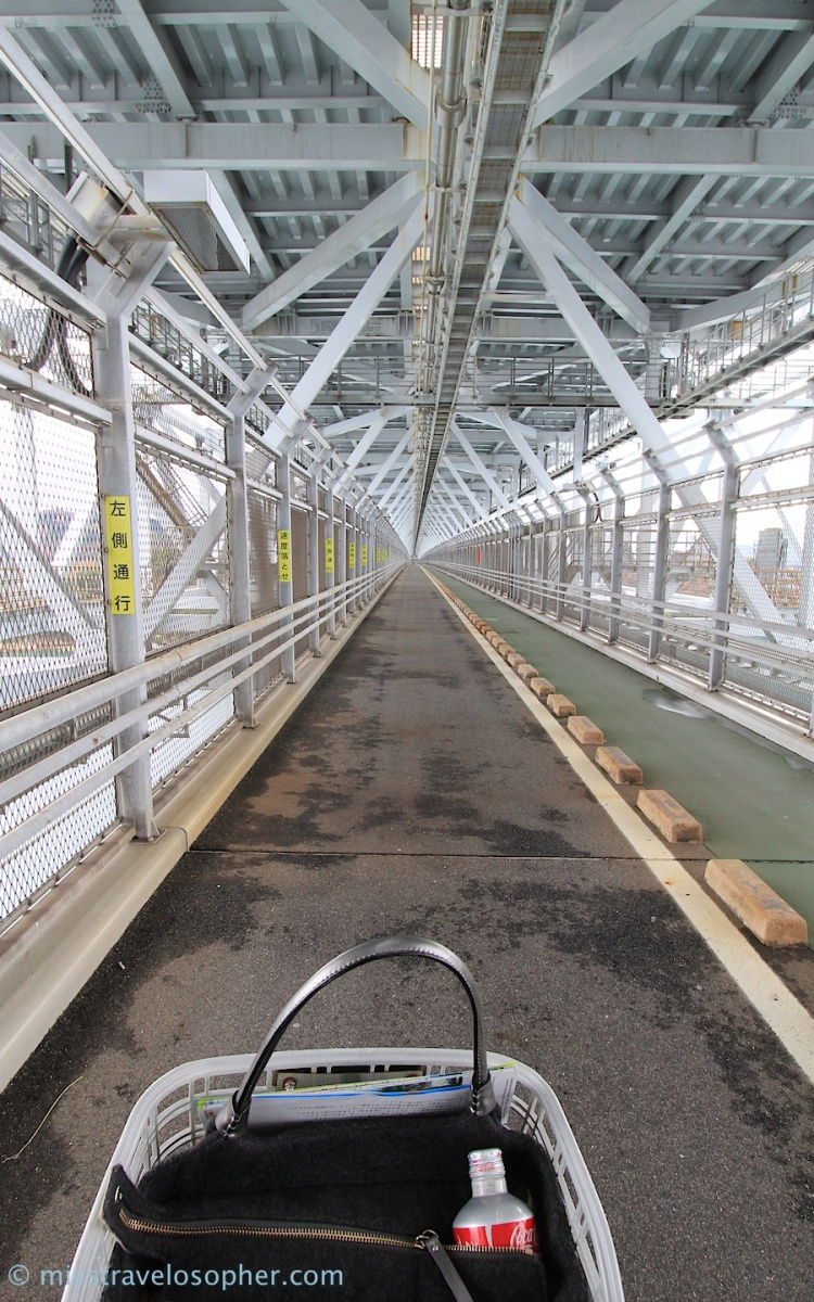 At Innoshima Ohashi, the bicycles take the lower deck. The motor vehicles are on the upper deck of the bridge