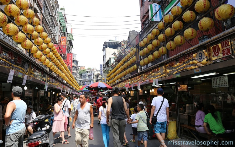 Hard to miss yellow lanterns: Miaokou Night Market