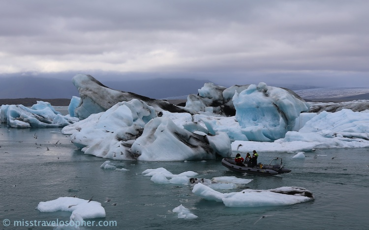 Floating bluish icebergs at Jökulsárlón