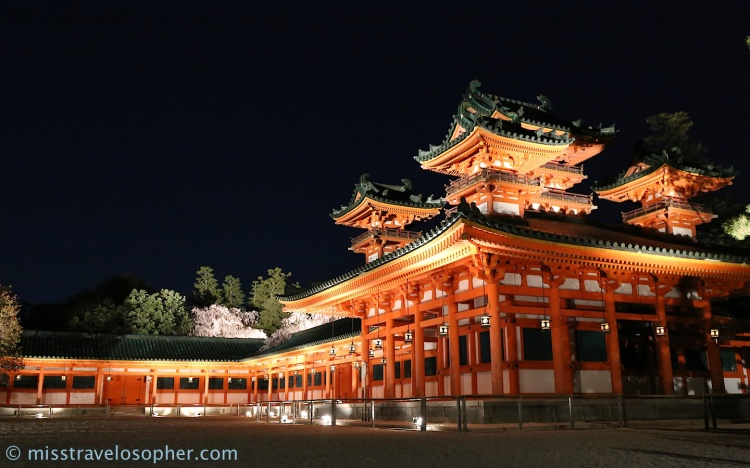 We had to walk across to the other side of the shrine to get to the concert area. Lighted up and majestic in vermillion